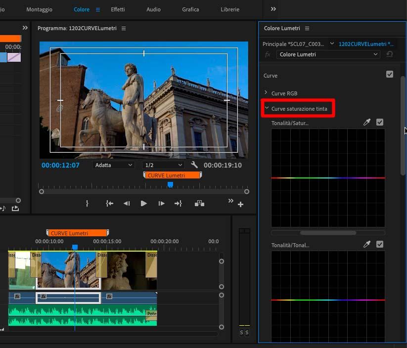 curve saturazione tinta di Premiere Pro CC 2019_2